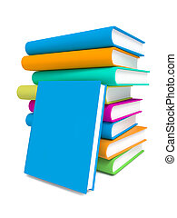 Stack of Colorful Books on White Background - Stack of...