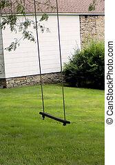 Wooden Single Swing Set Bench - A wooden single swing set...