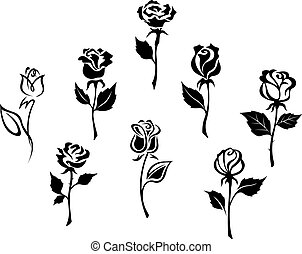 Beautiful roses set - Beautiful roses silhouettes set for...