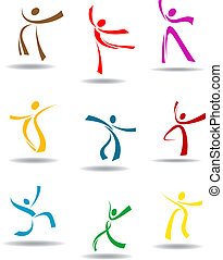 Dancing peoples pictograms for entertainment or sports...