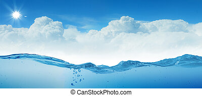 sundown seascape - design template with underwater part and...