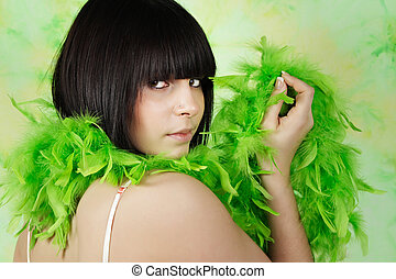 teen with feather boa - nice teen with green feather boa
