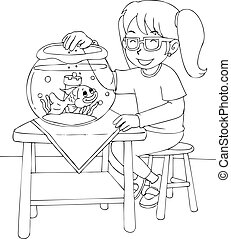 Girl With Goldfish Colouring Page - Outline illustration of...