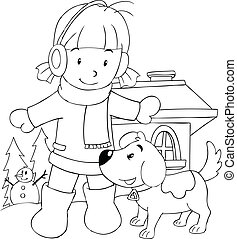 Girl With Her Dog Colouring Page - Outline illustration of a...
