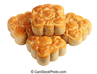 Moon Cakes - Four baked homemade moon cakes over white...