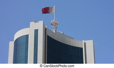 Bahrain flag on skyscraper