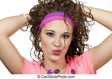 80s girl hair - Girl in neon 80's colors plays with hair....
