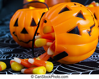 Candy Corn - Candy corn candies falling out of Halloween...