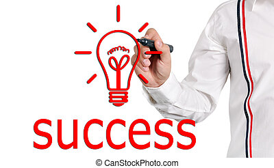 drawing success - businessman drawing success concept....