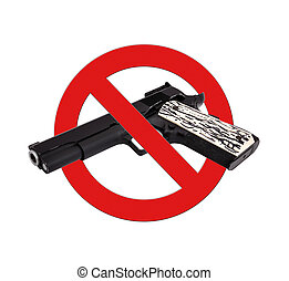 sign prohibiting gun on a white background