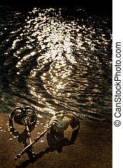 Mascarada, -, veneciano, máscaras, río