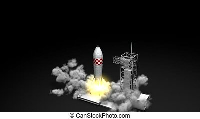 Rocket launching - 3d animation, rocket blast off.