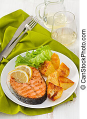 fried salmon with potato on the white plate