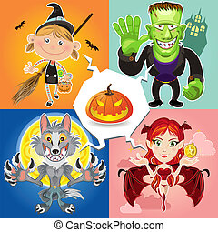 Halloween Characters - An Illustration Of Halloween...