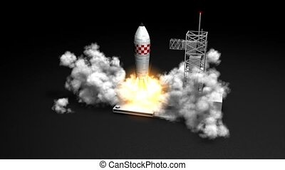 Rocket launching - 3d animation, Rocket launching.