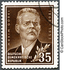 GERMANY - 1953: shows Maxim Gorky 1868-1936, a Russian...