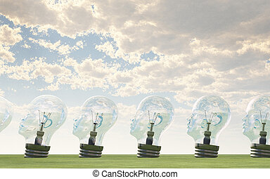 Row of human head lightbulbs in landscape
