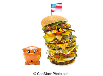 enormous burger falling over on piggy bank - An enormous...