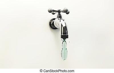 tap water drop falling down a metal tap