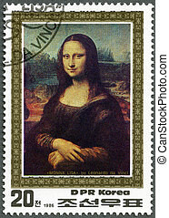 NORTH KOREA - 1986: shows Mona Lisa by Leonardo da Vinci -...