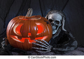 Skull monster and halloween pumpkin decoration