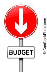 Budget decrease - Illustration depicting a roadsign with a...