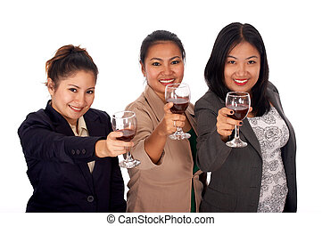 three young adults holding a glass of wine