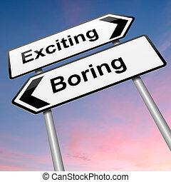 aburrido, o, emocionante, concepto
