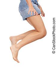 waist down shot of a girl - jumping