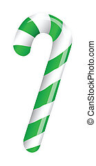Candy cane isolated on white (white,green)