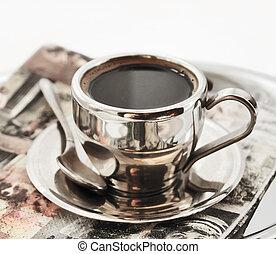 caliente, café, matel, taza