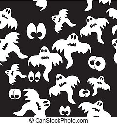 Seamless pattern with ghosts on black background