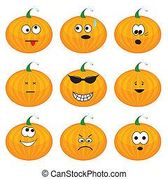 Set of nine cartoon pumpkins
