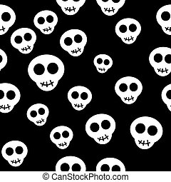 Seamless pattern with white skulls on black background....