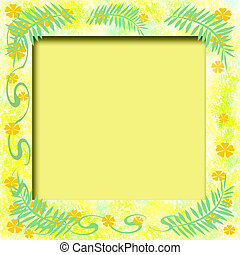 sunny tropic frame - tropical illustration scrapbook frame...