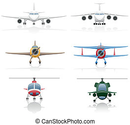 set icons airplane and helicopter vector illustration...