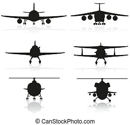set icons airplane silhouette and helicopter vector...