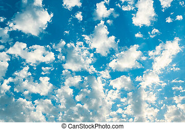 bleu, nuages, blanc, ciel