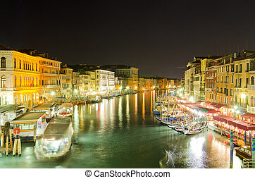 Grand Canal, Venice - Grand Canal at night, Venice, Italy