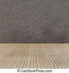 Wood floor and grunge brick wall