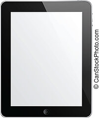 Black tablet vector - Isolated black Touch Pad with empty...