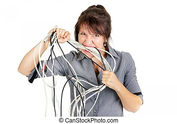 woman biting cables - furious business woman biting electric...