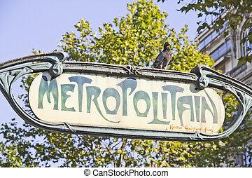 Metro subway sign in Paris