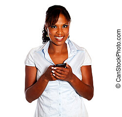 Afro-american young woman with a cellphone