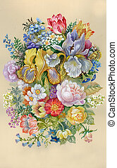 Watercolor Flower Collection: Flowers Bouquet background,...