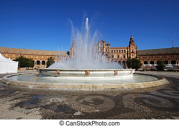 Fountain, Plaza de Espana, Seville - Central building in the...