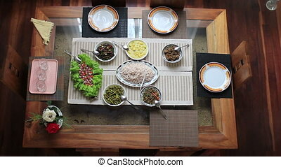 preparing meal table at home