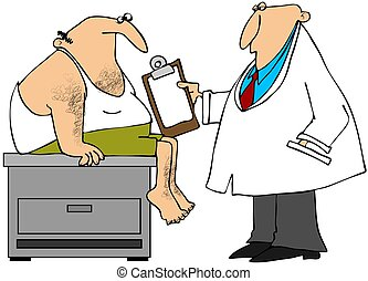 Medical exam - This illustration depicts a doctor examining...