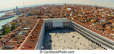 Aerial view of Venice city from the top of the bell tower at...