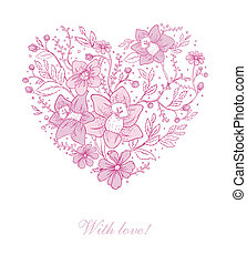 Vector illustration of Floral heart - Vector illustration of...